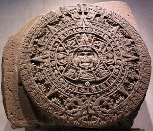 Aztec calendar stone, courtesy of Wikipedia Commons